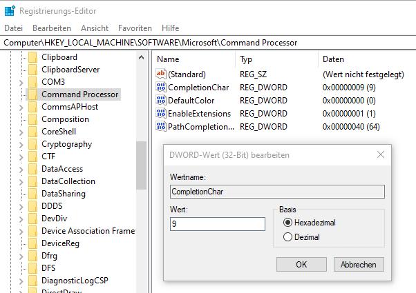 Windows Tab-Vervollständigung aktivieren wiederherstellen